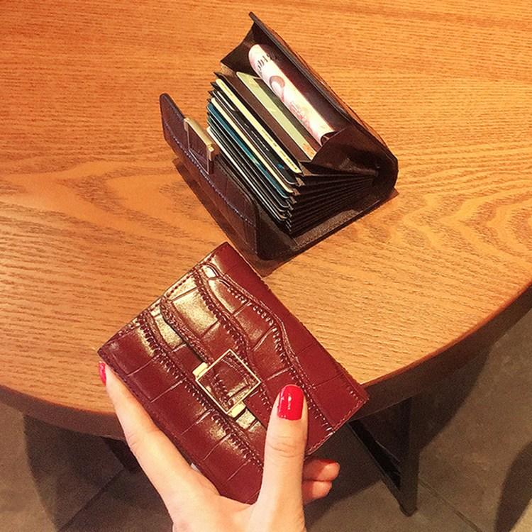 악어 패턴 아코디언 카드 케이스 미니 지갑