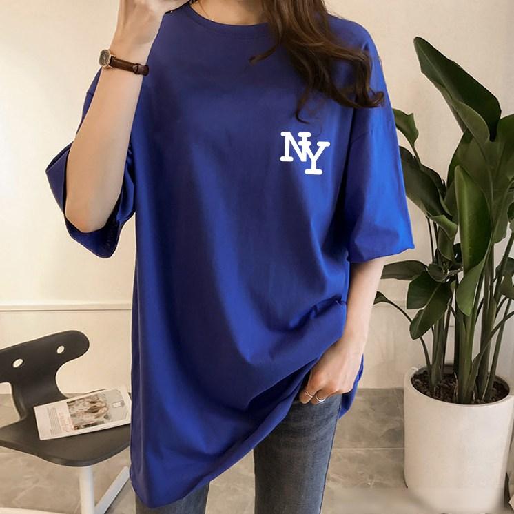 스타일아유 여성 반팔 티셔츠 NY 로고 오버핏 여자 반팔티 롱 티 노마진 루즈핏 박스 프린트