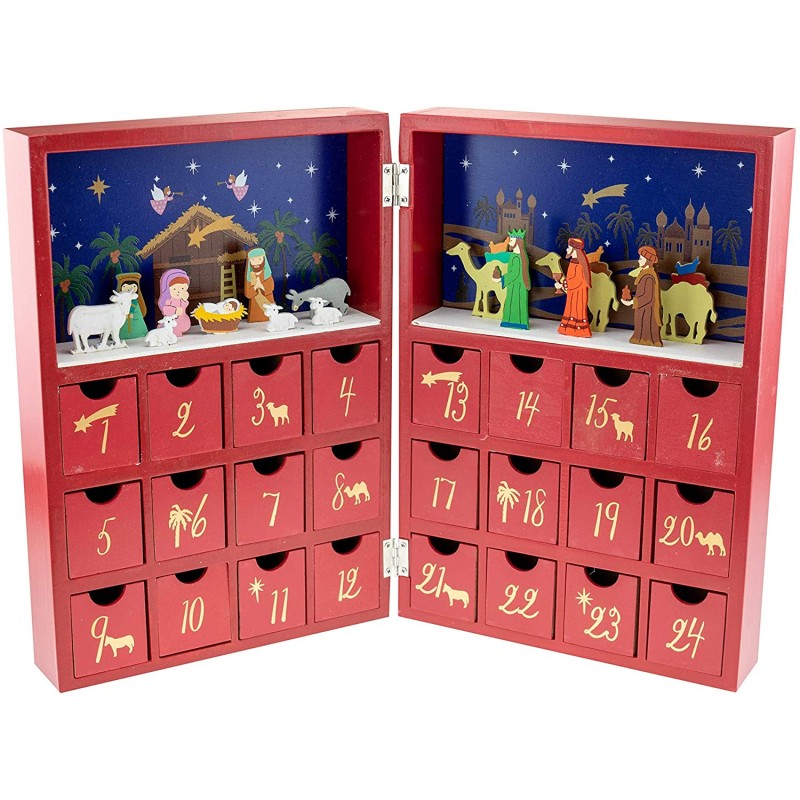 영리한 창조물 탄생씬 크리스마스 북 어드벤트 캘린더 - 3명의 위스맨과 아기 예수 - 귀여운 휴일 장식 - 프리미엄 크리스마스, 단일옵션