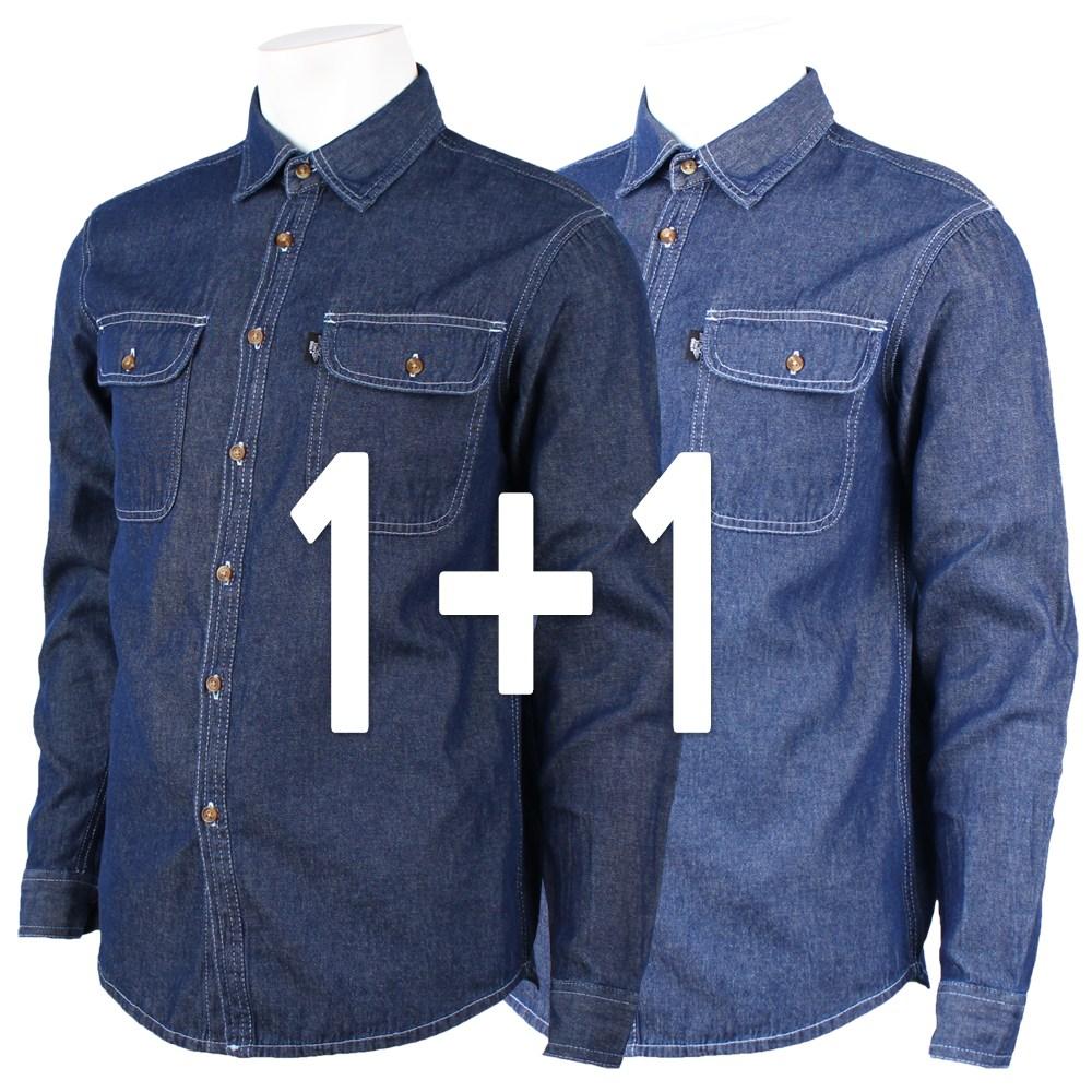 [더빅보스] WD청남방 [1+1] 사계절 90~120사이즈 캐주얼 데일리 데님셔츠 작업복 용접 건설 근무복