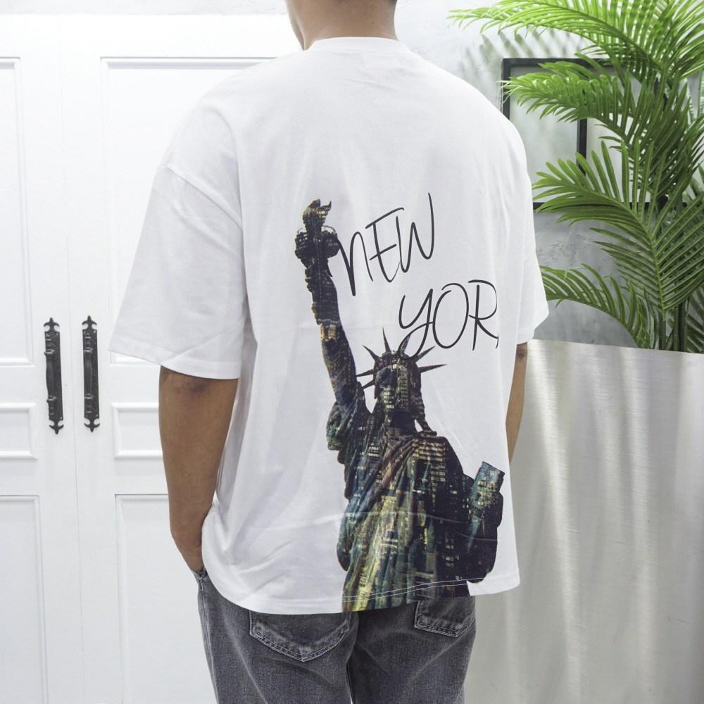 고천 뉴욕 백프린팅 오버핏 반팔 티셔츠