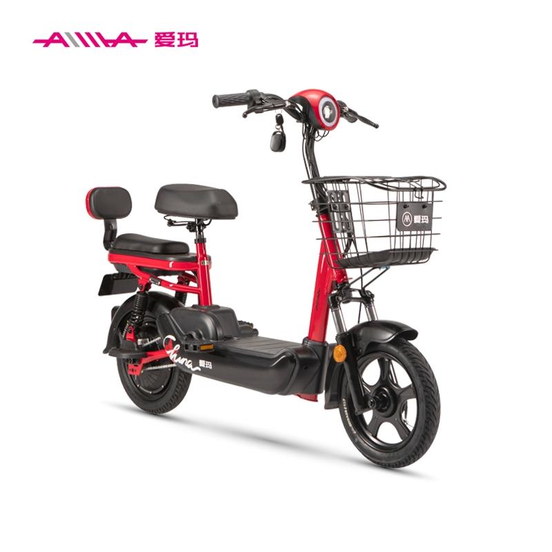 전기자전거 엠마 새로운 국가 표준 배터리 48V 소형 동력 보조 이동성 자전거 남녀 자전거 리튬 배터리 접이식 전기자전거, 투명한 빨강  검정 (POP 5428820806)