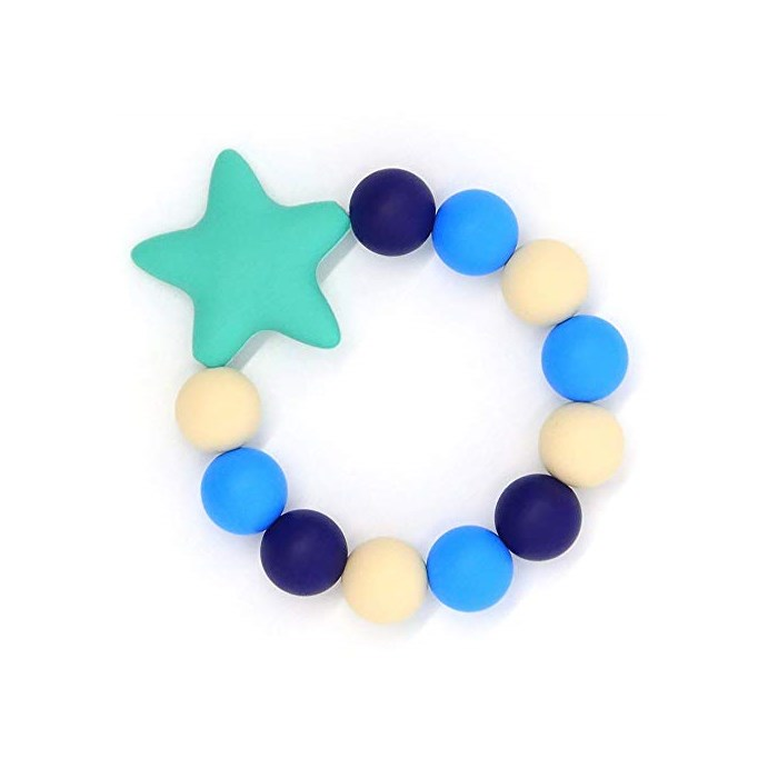 HiGuard Baby Teether Ring BPA Free Silicone Teething Beads Bracelet for Infant and Toddler Stylish, Blue, One Size
