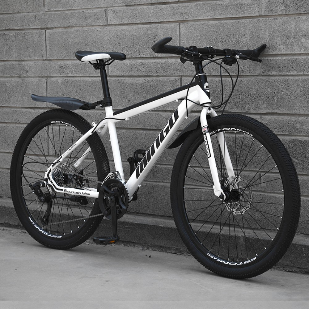 저렴한 가성비 입문용 산악용 남성 여성 학생 충격흡수 MTB 자전거, 24인치 + 높은 버전-흰검 + 21단