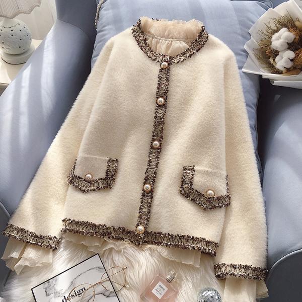 데일리룩 진주 단추 포인트 재킷 밍크 가디건 트위드 스타일