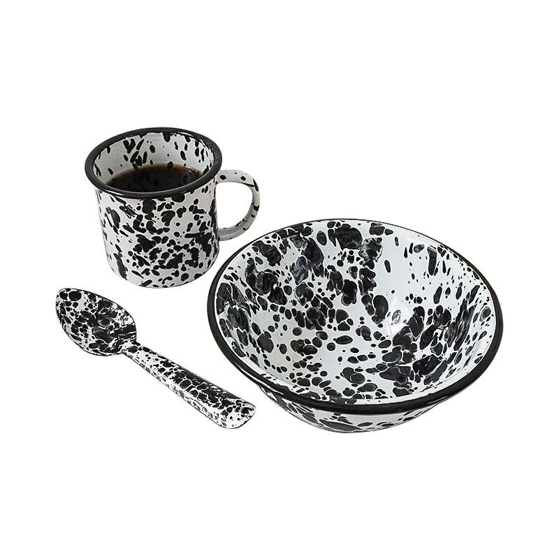 홈카페 레트로 컵 커피 우유 머그잔 텀블러 미국 크로우 캐년 마블법랑, 잉크 도트 세트