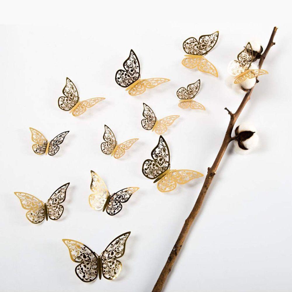 3D 나비 인테리어모빌 스티커 UH0.64 6472EA, 금색