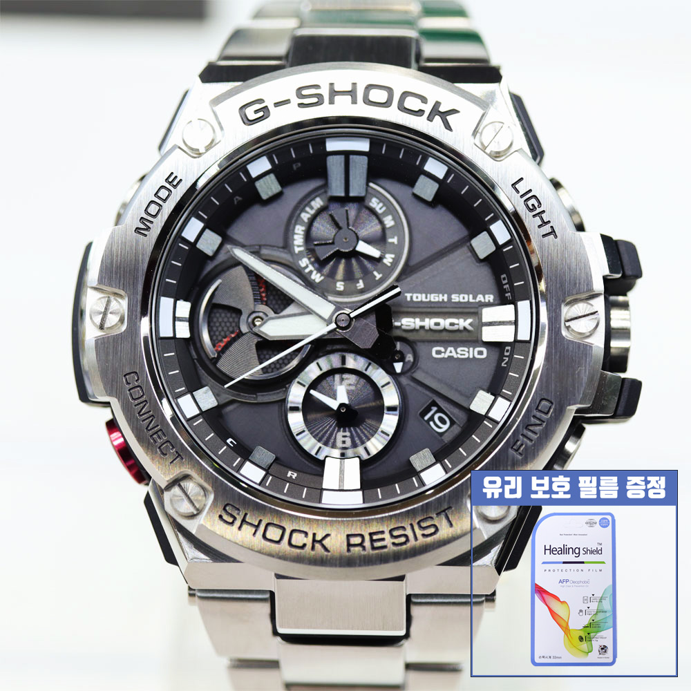 지샥 [G-SHOCK] GST-B100D-1ADR 지스틸 터프솔라 블루투스 메탈 시계 보호필름 증정 백화점 AS 가능