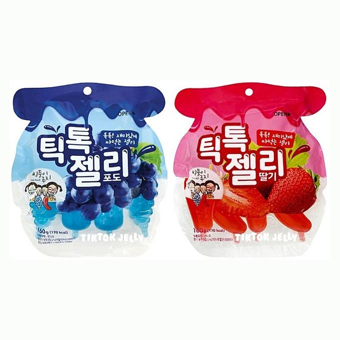 쌍둥이루지 틱톡 젤리 딸기맛/ 포도맛 160g(4개입) 2종 국내생산, 딸기맛