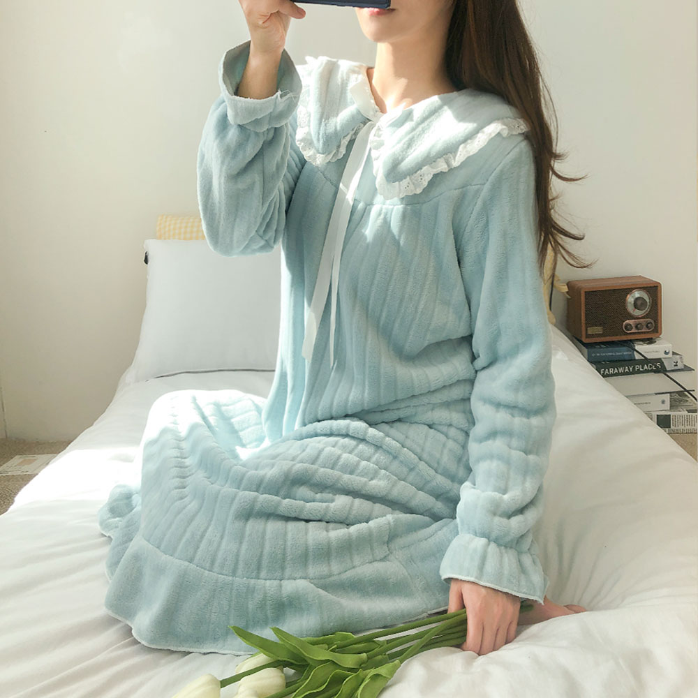 어나더디 레이스 카라 수면 원피스 3color 오버핏 잠옷