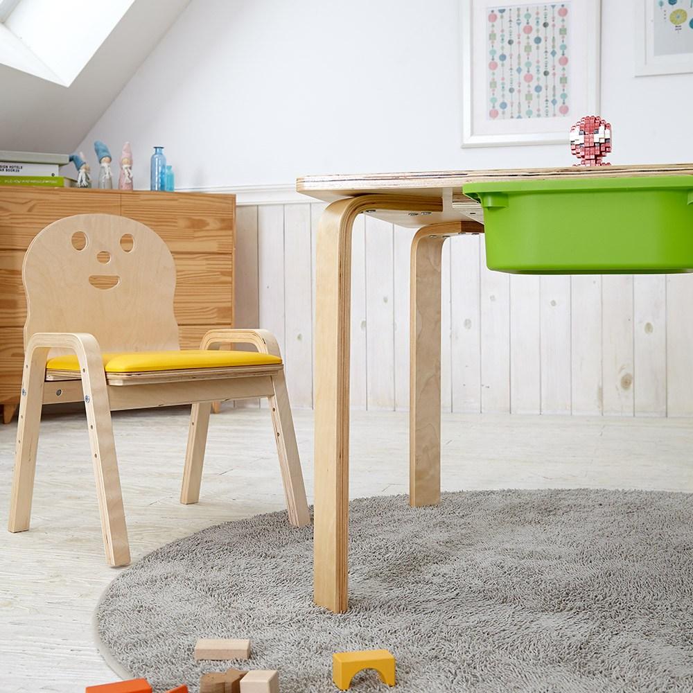 토리 원목 유아 쿠션의자 직사각 수납책상세트 2-7세, 유아 직사각+바구니 노랑 / 쿠션의자 빨강 2개