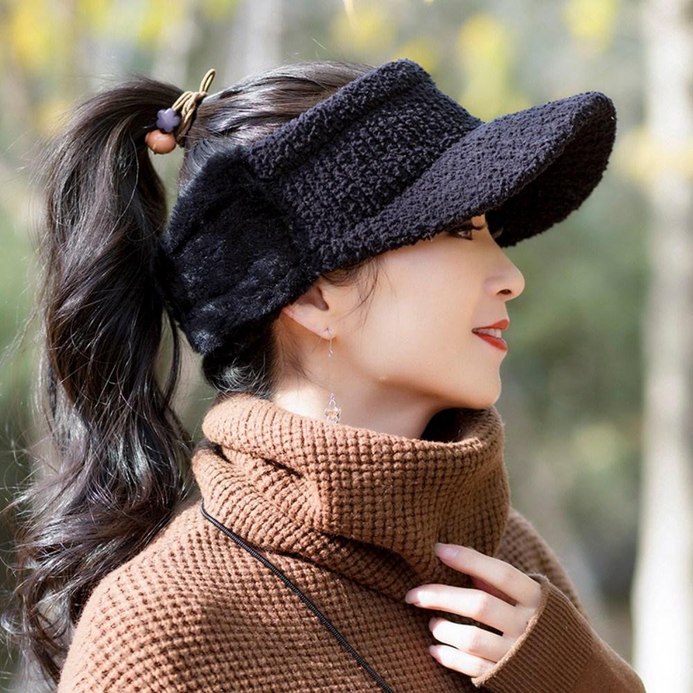 니트 비니 겨울용골프모자 여성 골프 털모자 용품 귀덮는 방한용 귀달이, 블랙