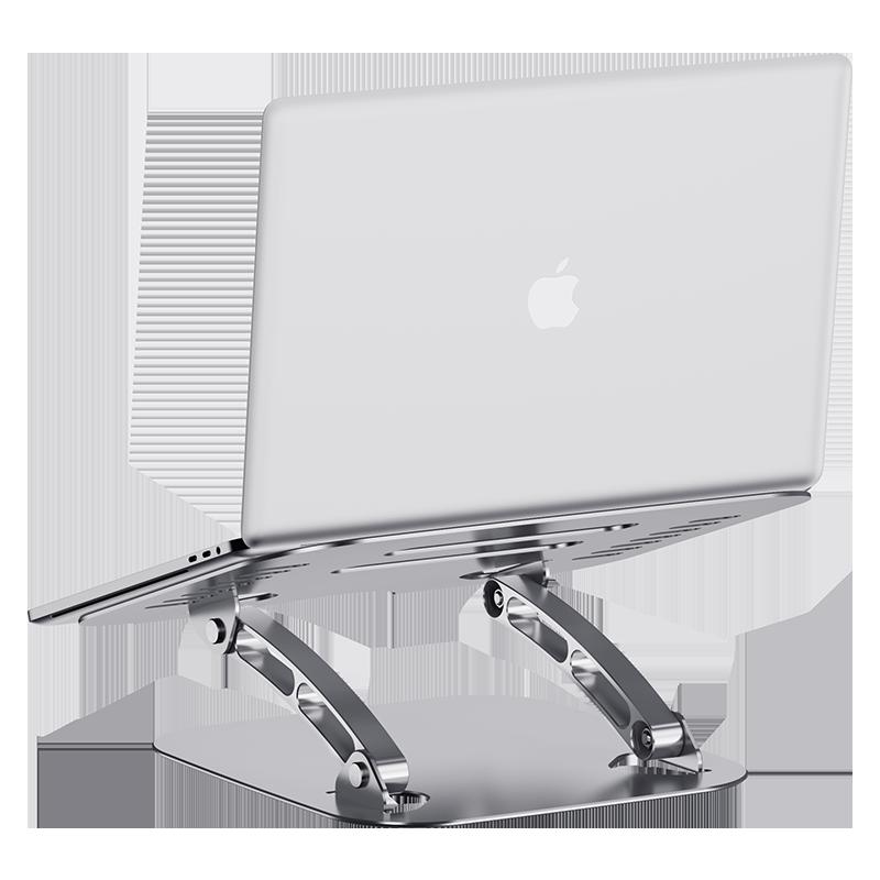 모니터암 접이식 macbook지지대 테이블 알루미늄합금 노트북 지지대 산열대 높이추가매트 높은프레임 받침높이 받침대 수납 현탁 pro손으로드는 게임판 접지력, T01-전체은 색+알루미늄합금+자유 승강+각도 조절