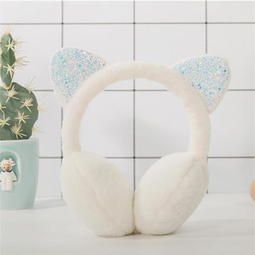 썬왕 키즈&주니어 겨울 어린이 초등학생 귀도리 스팽글 고양이 야옹이 귀마개
