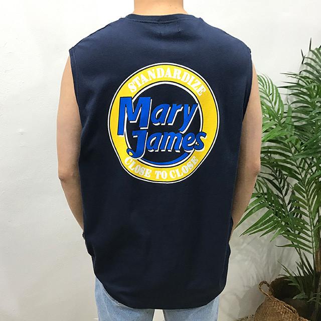 이루네 남성용 메리제임스 프린팅 여름 민소매 나시 티셔츠