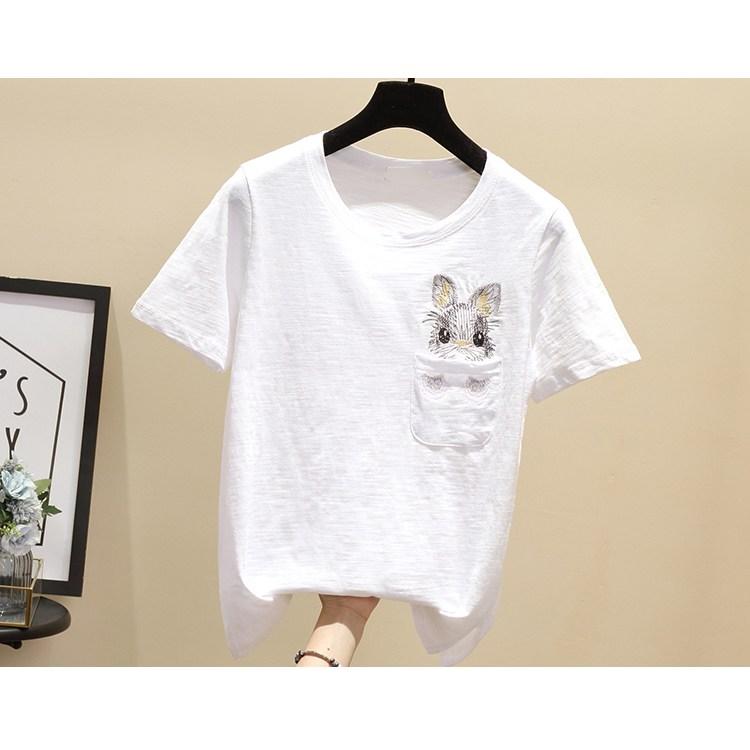 여성 자수 여름 프린트 티셔츠 20 AOib12o