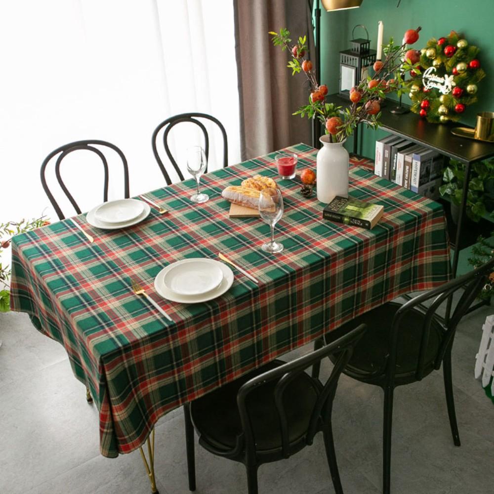 크리스마스 그린 체크 식탁보 북유럽 직사각형 클래식 원형 빈티지 체크 테이블보, 100*140cm, 클래식 그린 체크