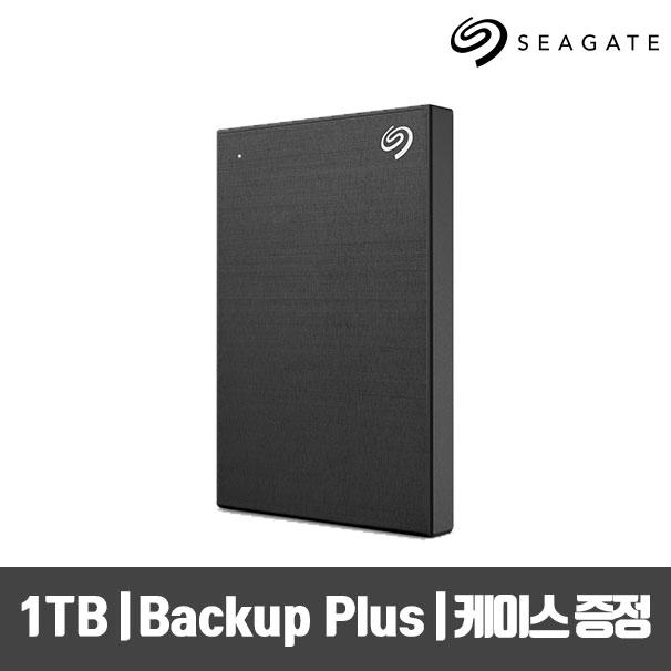 씨게이트 New Backup Plus Slim +Rescue 외장하드 +파우치, Black STHN1000400, 1TB