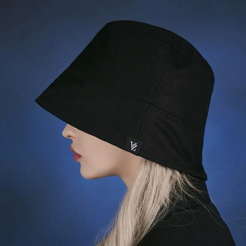 바잘 [바잘 모자 벙거지] 라벨 드롭 오버핏 버킷햇 블랙