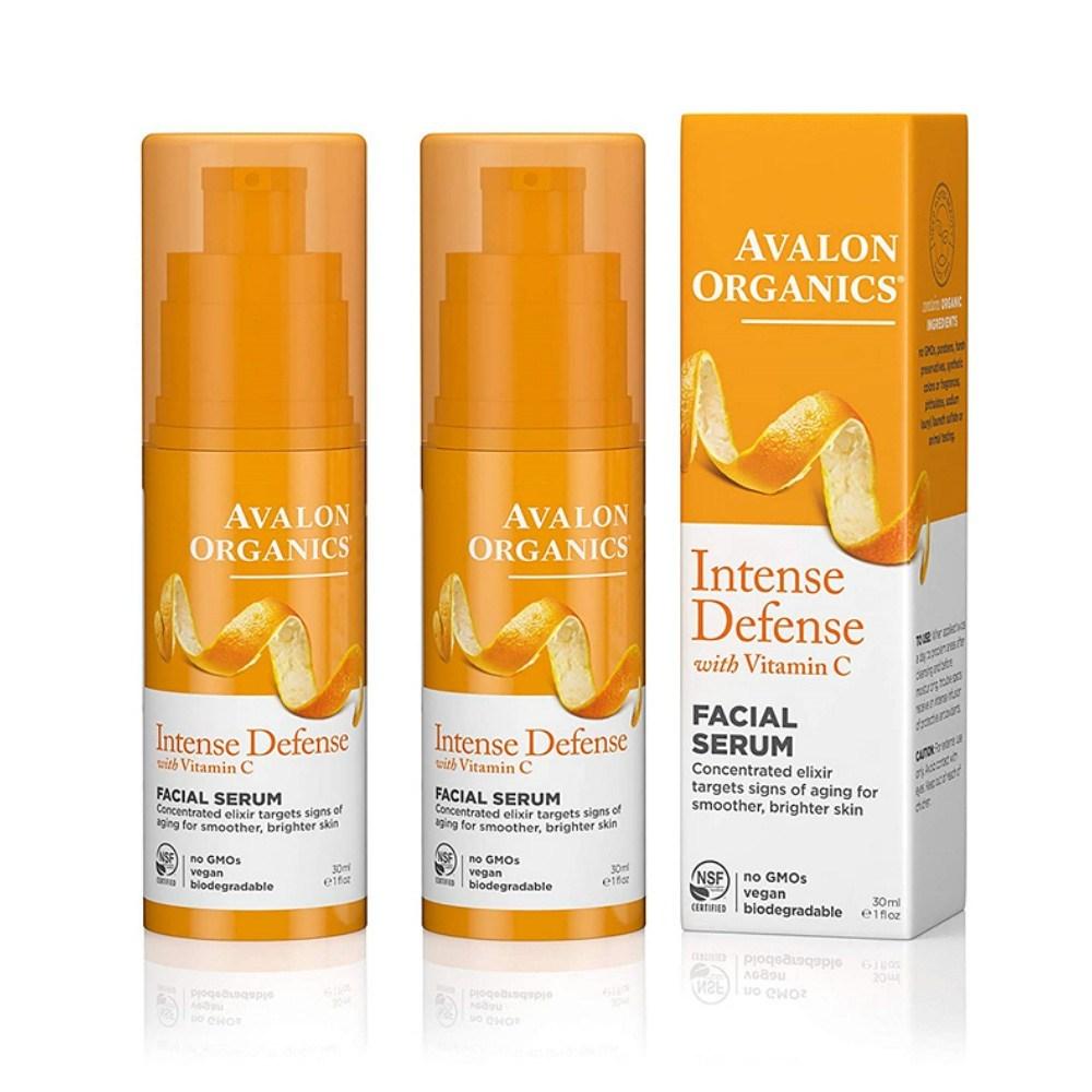 Avalon Organics 아발론 오가닉스 Intense Defense Facial Serum No GMO 비건 인텐스 디펜스 페이셜 세럼 1oz(30ml) 2팩, 1개