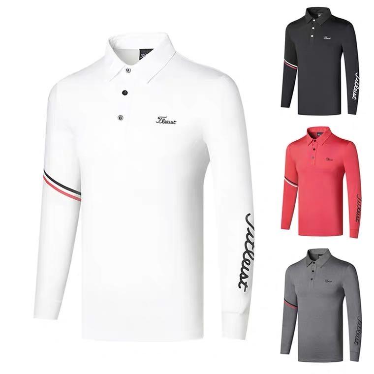 homefunny 남성 골프웨어 의류 티셔츠 아웃도어 운동복 긴팔 캐주얼 상의 TJS207320, 레드