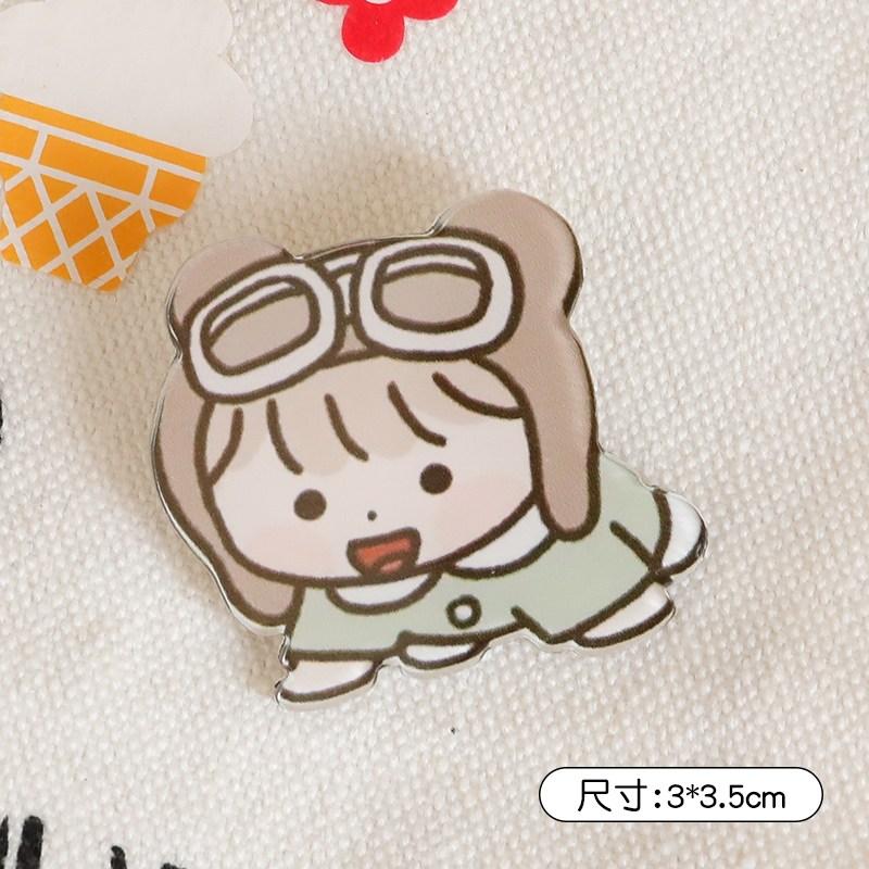 몽리베르떼 여자 곰돌이 래빗 브로치 큐트 트렌드 개성 애니메이션 소녀 배지스티커 작은 부품