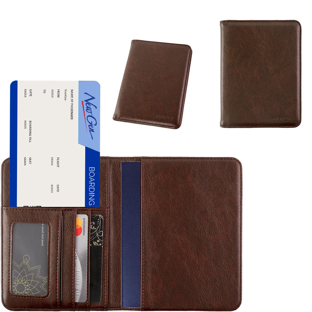 미노바 가죽 여권 표지 카드 홀더 여행 지갑 RFID 씰(다크 브라운)