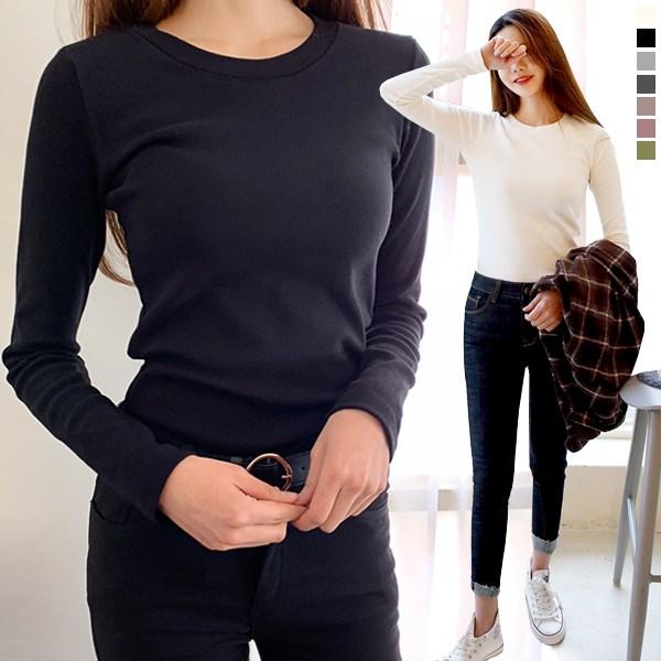 [여성 u넥 티셔츠] 티데일리 여성용 스판 라운드 티셔츠 소프트기모 이너 긴팔티 긴팔 - 랭킹53위 (6900원)