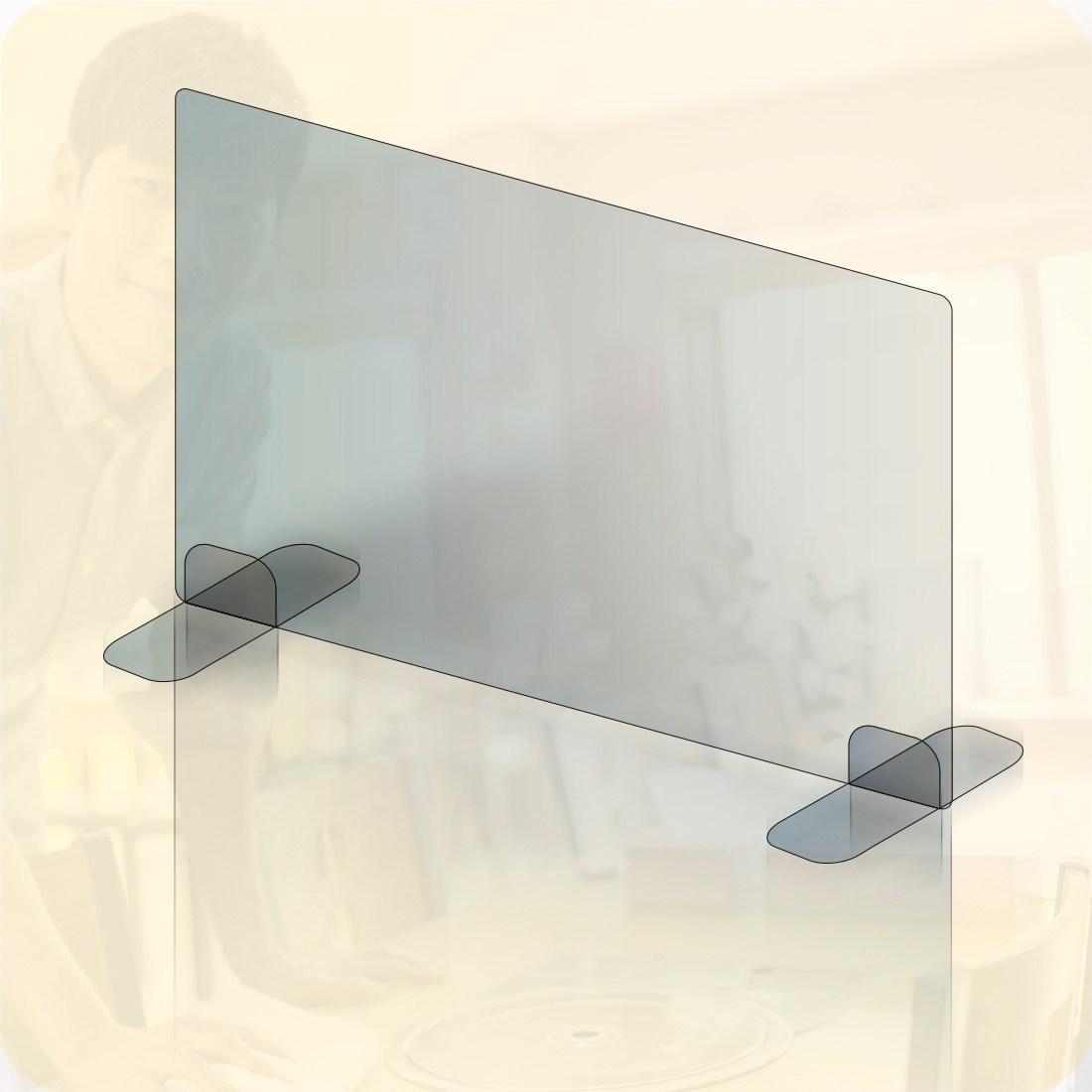 투명 아크릴 식당 학교 도서관 관공서 카페 가림막 칸막이, 2인용 대형(60x60cm)+L자형받침대