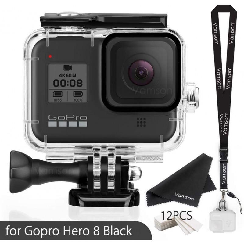 Gopro Hero 8 용 Vamson 방수 하우징 케이스가있는 블랙 액세서리 Go pro Hero8 액션 카메라 AVP651 용 60 미터 수중 보호 다, 단일옵션