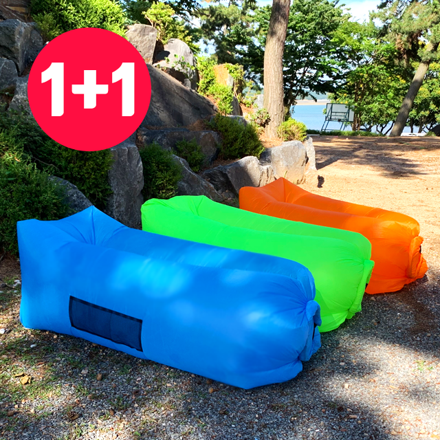 리얼살롱 1+1 포켓형 에어 쇼파 베드 캠핑 매트 에어매트, 일반형(형광그린+형광오렌지)