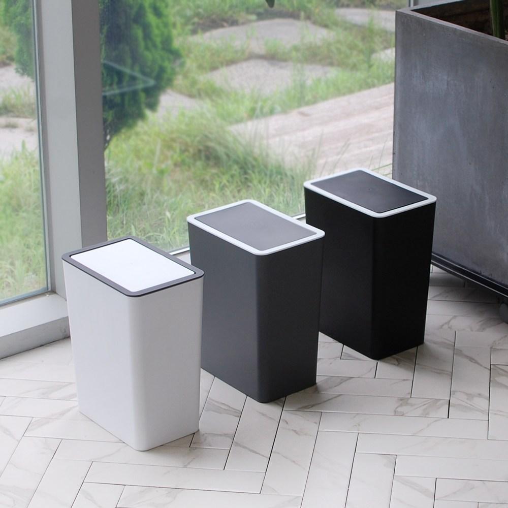 원터치 스윙 종량제 인테리어 쓰레기통 화장실 휴지통 10/20L, 블랙, 원터치휴지통10L