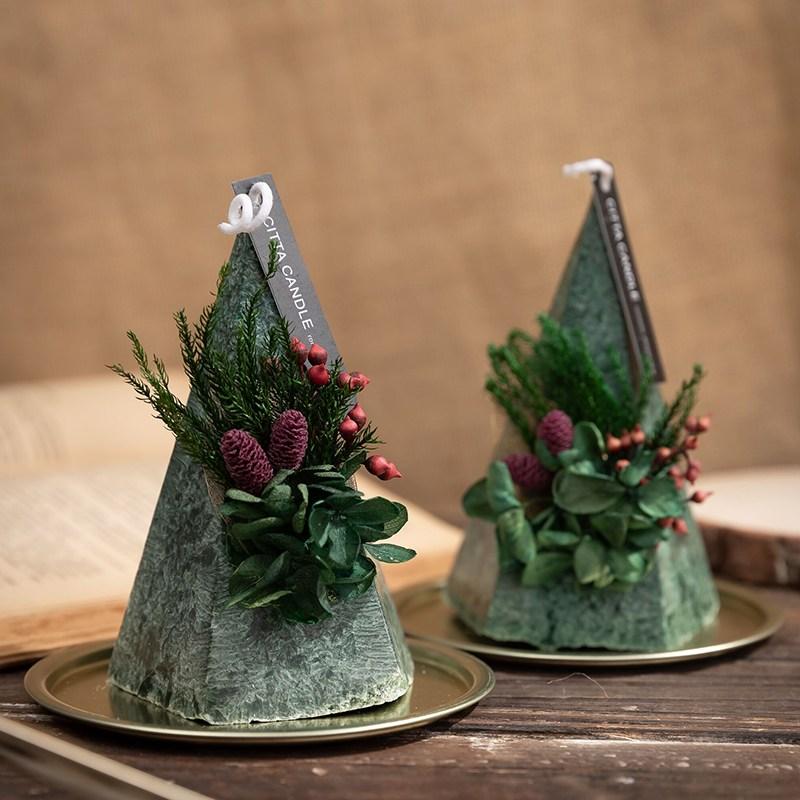 크리스마스 캔들 향촉 선물세트 2P 인테리어 장식, 딥그린2p선물세트