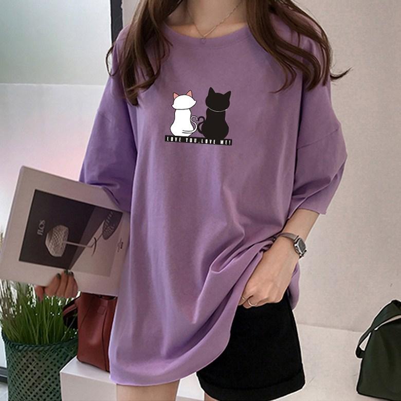 상품특허 팔색조유니버스 투캣츠 티셔츠