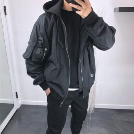 내입옷 멀티포켓 오버핏 테크웨어 후드항공점퍼 바람막이