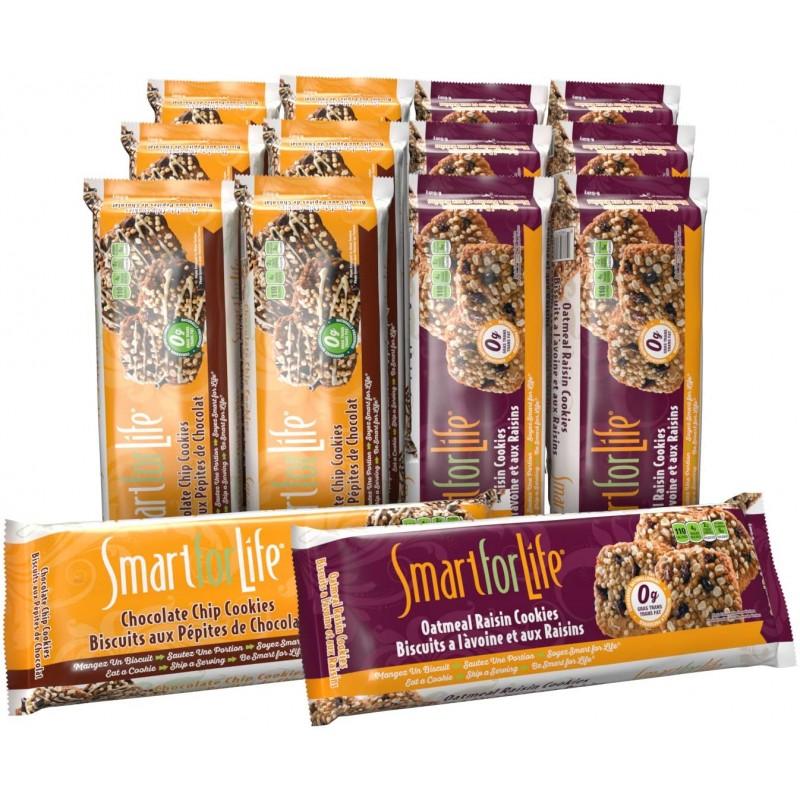Smart for Life 단백질 쿠키 다이어트 - 버라이어티 팩 - 초콜릿 칩 1주 오트밀 건포도 1주 - (총 2주) 고단백 쿠키 다이어트, 1