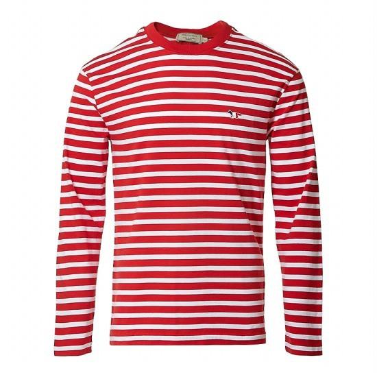 메종키츠네 트리컬러 폭스 패치 스트라이프 티셔츠 AU00105KJ2004 REWH