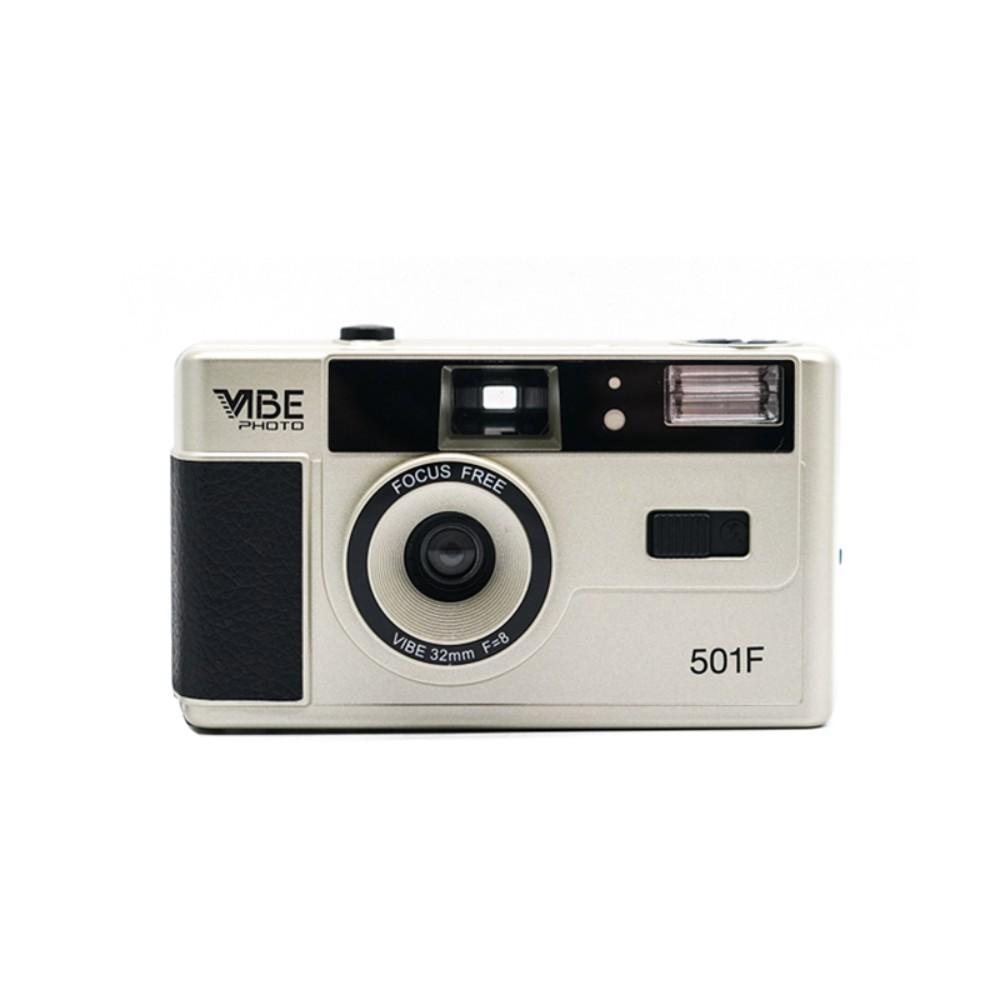 다회용 레트로 코닥 VIBE 빈티지 필름 카메라 입문용 올 뉴 독일 바이브135 필름바보카메라501F 앤티크핸드필름기 반복사용 백메일, 샴페인실버