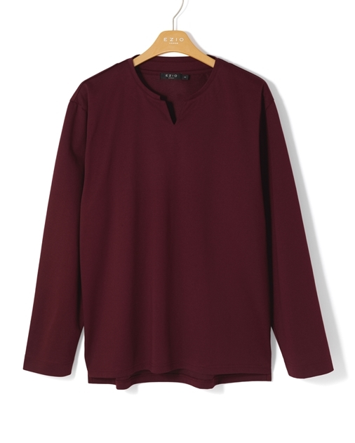 이지오 C1TC706 노치넥 스트레이트핏 롱슬리브 티셔츠 - 와인