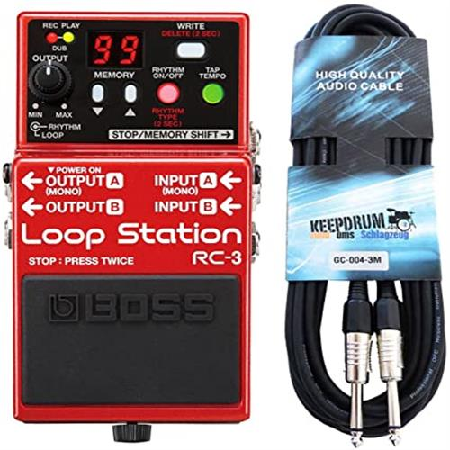 보스 RC 3 루프 스테이션 효과 페달 + 드럼 기타 케이블 3m 유지