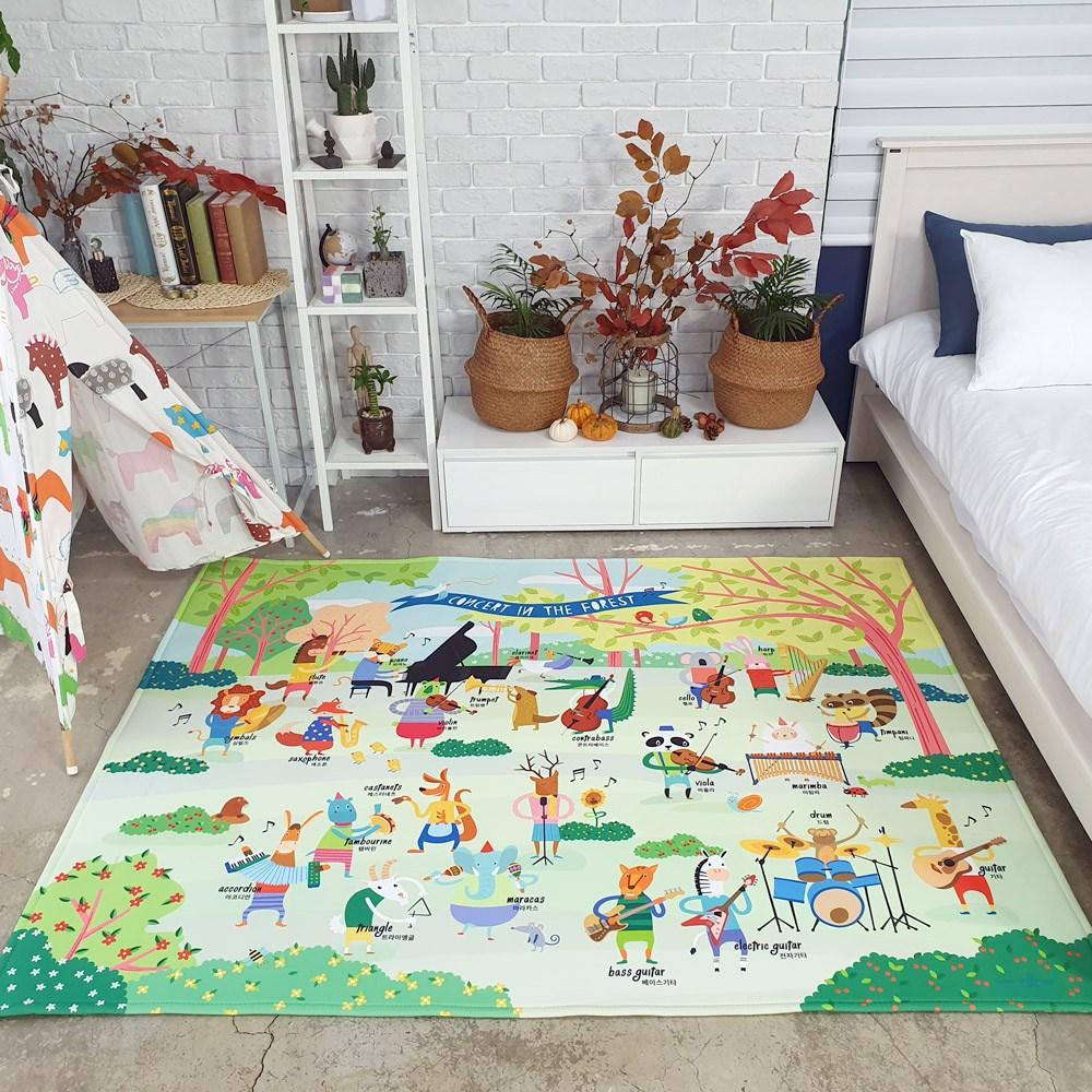 더블에스러그 동물음악회 도로 아이방 러그 놀이매트, 단일색상