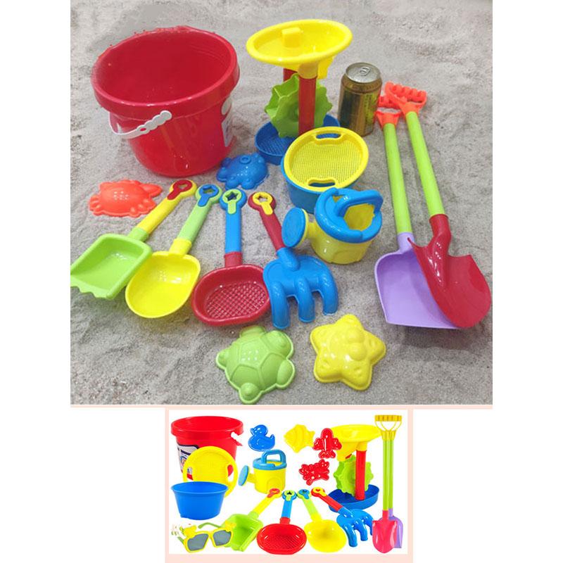 [해외 직송]뉴타임즈 모래놀이 야외완구 어린이 비치 장난감 세트 차 라지 모래시계 삽통 파서 모래 도구 XZ16 C11, 1개, 03 13피스-대+2삽