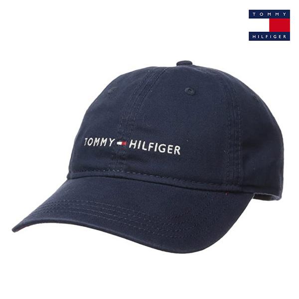타미힐피거 로고 볼캡 모자 네이비