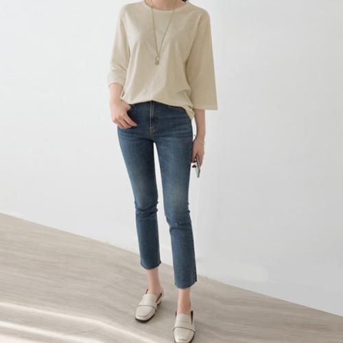 데일리앤 케이지 여자 베이직 7부 슬라브 티셔츠