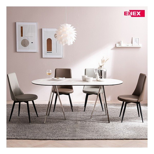 [에넥스] 샤론6인용 원형 이태리세라믹식탁 (실버스텐/의자제외), 색상:2)스톤그레이