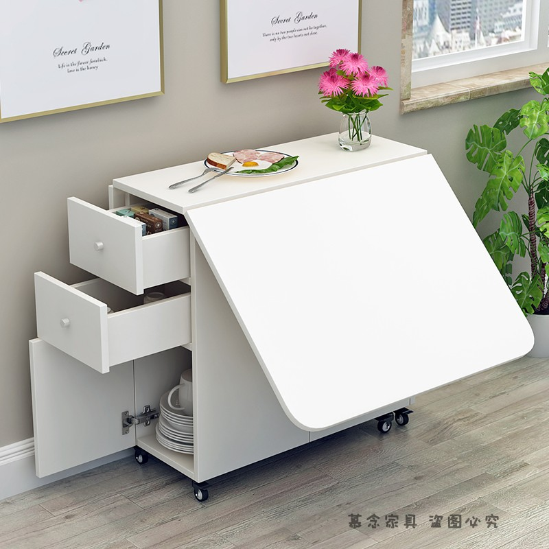 간단한 현대 작은 아파트 텔레스코픽 접이식 식탁 직사각형 모바일 주방 스토리지 캐비닛 간단한 식탁과 의자 조합, 140 * 70 흰색 둥근 모서리 이동