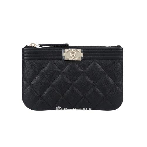 [샤넬] 지갑 미니지피포쉐 보이클래식 캐비어 : 블랙+샴페인골드