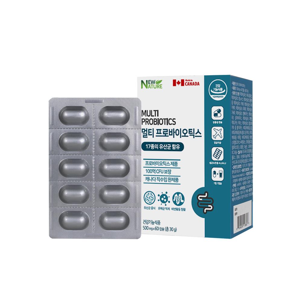 뉴네이처 멀티 프로바이오틱스 모유유산균 100억 보장 장용성캡슐, 1개