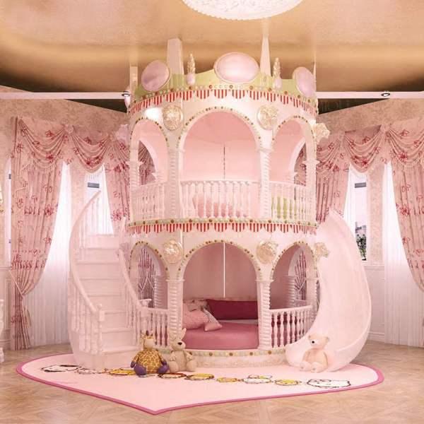 마법의 성 핑크 공주 침대 2층 슬라이드 침대