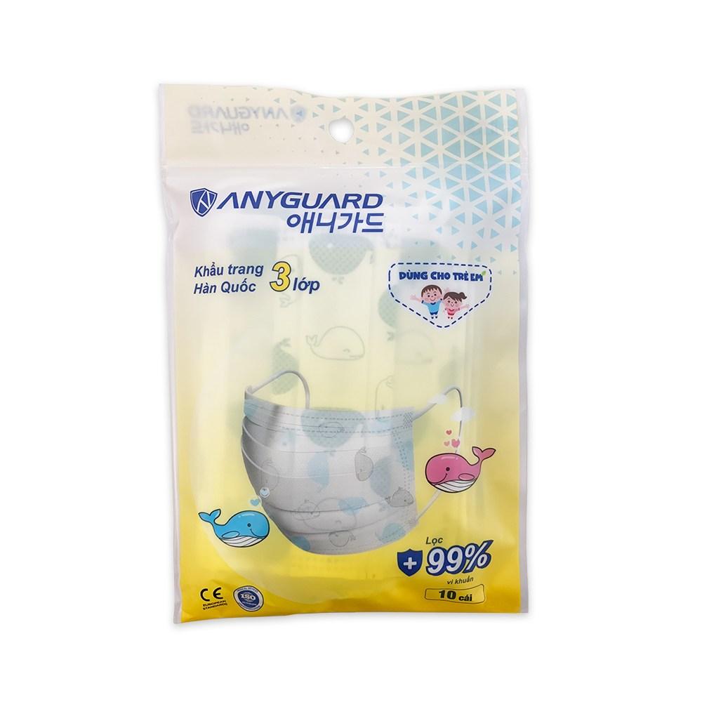 애니가드 어린이 고래 마스크 10매 유아용 소아용 소형 초소형 KC인증, 1박스